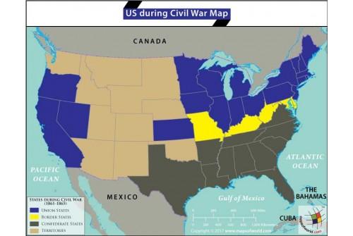 US During Civil War Map