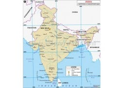 India Latitude and Longitude Map - Digital File