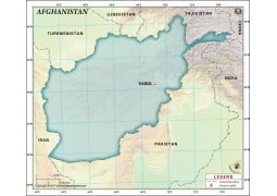 Afghanistan Blank Map, Dark Green