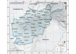 Afghanistan Political Map, Dark Green