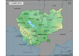 Cambodia Latitude and Longitude Map - Digital File