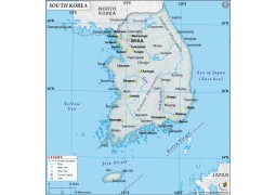 South Korea Physical Map with Cities in Gray Background - Digital File