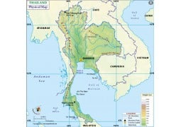 Thailand Physical Map - Digital File