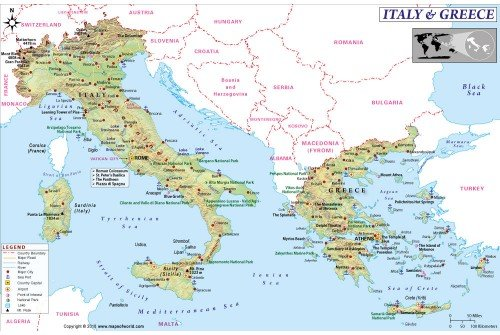 Buy Combo Map of Italy and Greece for Sale