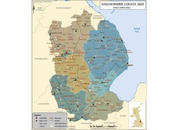 Map of Lincolnshire County Map, England