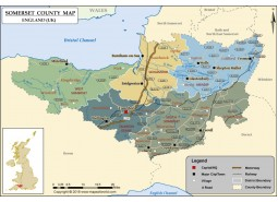 Map of Somerset County Map, England