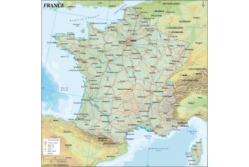 France Political Map, Dark Green