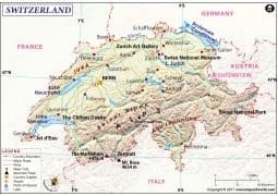 Switzerland Physical Map  - Digital File