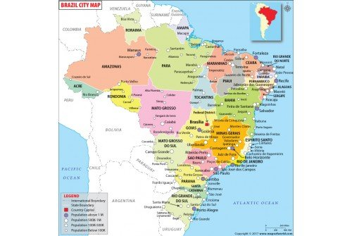Brazil Map with Cities