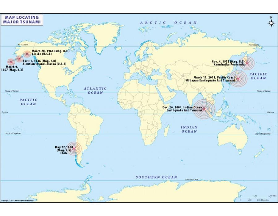 Buy Tsunami Dates and History Map