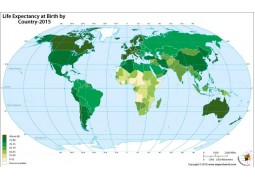 Life Expectancy at Birth by Country-World Map