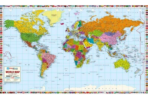 "World Map Professional Edition - Laminated (78"" W x 47"" H)"