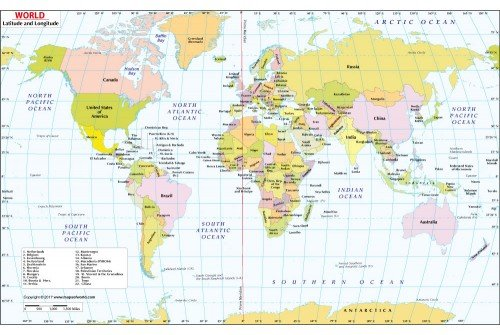 Buy World Map With Latitude And Longitude Online - World map latitude longitude