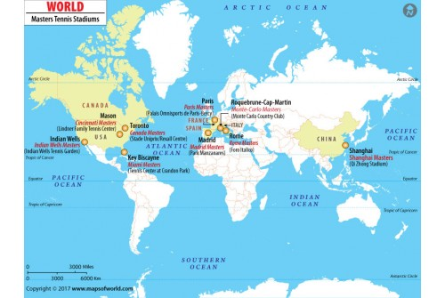 World Masters Tennis Stadium Map