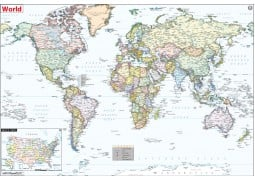 World Political Map with USA Inset - Digital File