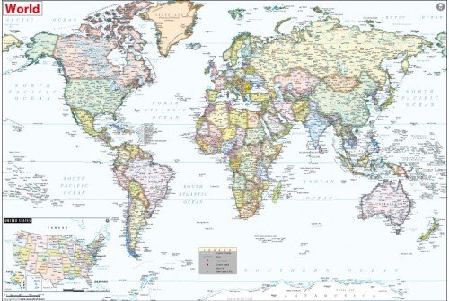 World Political Map with USA Inset