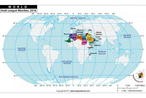 World Arab League Members Map