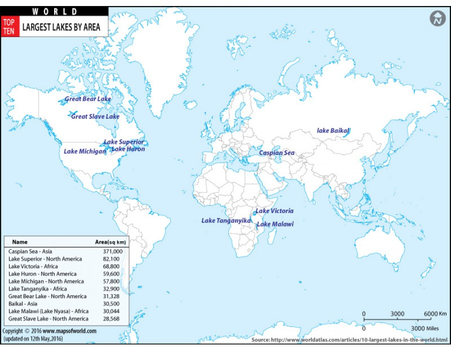 Lake Baikal World Map.Buy Map Of Largest Lakes In The World By Area