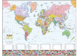 World Map with Flags  - Digital File