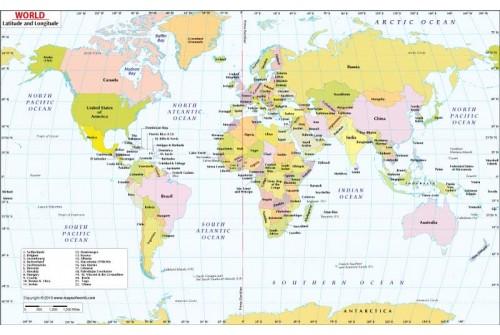 Buy World Latitude and Longitude Map