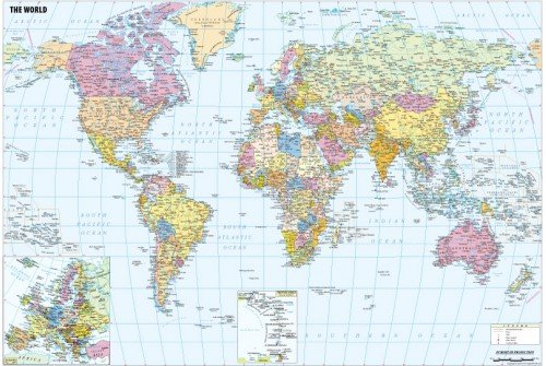 """Large World Political Map with Cities (70"""" X 47"""")"""