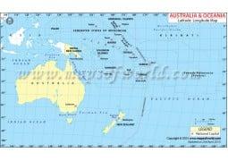 Oceania Lat Long Map - Digital File
