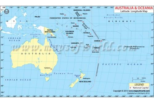 Oceania Lat Long Map