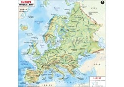 Physical Map of Europe Continent