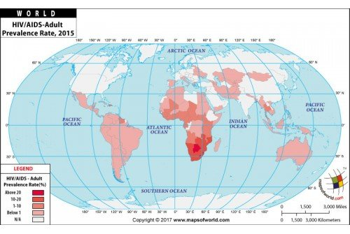 HIV/AIDS - Adult Prevalence Rate Map