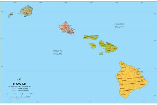 Hawaii Zip Code Map With Counties