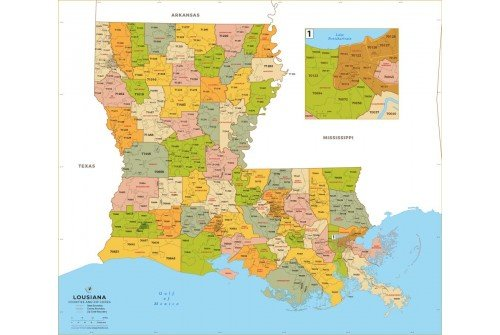 Louisiana Zip Code Map With Counties