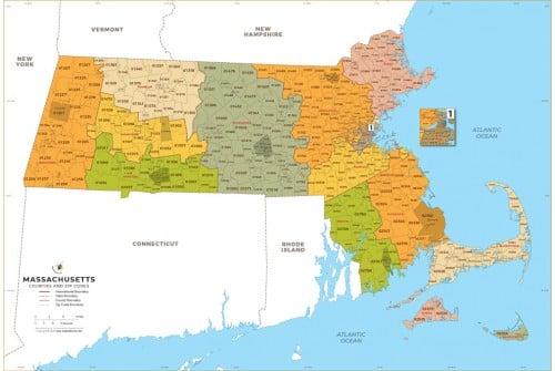 Massachusetts Zip Code Map With Counties