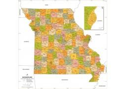Missouri Zip Code Map With Counties - Digital File