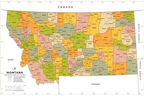 Montana Zip Code Map With Counties