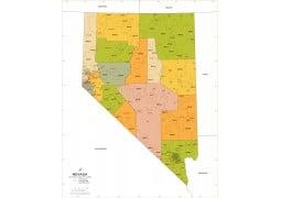 Nevada Zip Code Map With Counties - Digital File