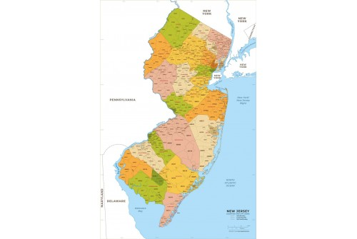 New Jersey Zip Code Map With Counties