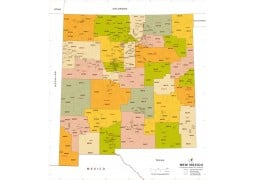 New Mexico Zip Code Map With Counties - Digital File