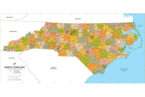 North Carolina Zip Code Map With Counties