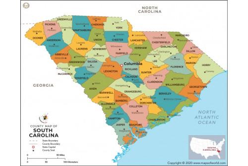 South Carolina County Map