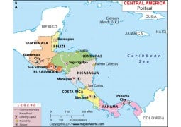 Map of Central America Political
