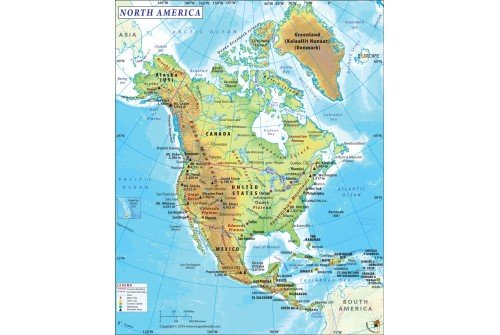 Buy Physical Map of North America | North America Map