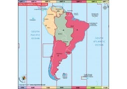 South America Time Zone Map - Digital File