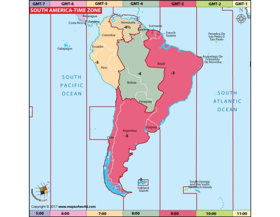 Map Of South America Time Zones