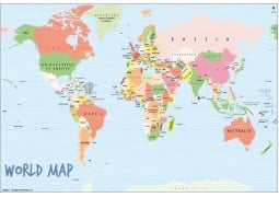 World Map Art-Scribble Poster