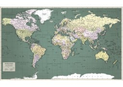 World Map Retro Poster Deux