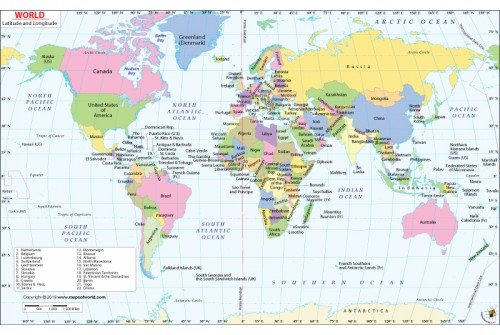 Buy World Latitude and Longitude Map