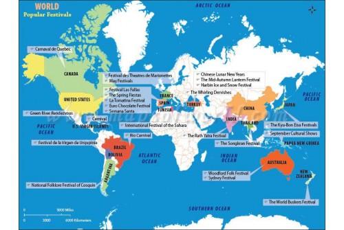 World Map - World Popular Festivals