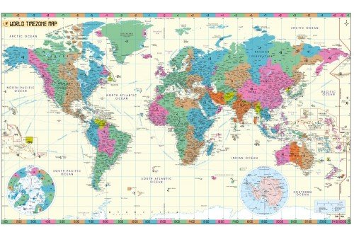 World Time Zone Map With Cities Poster