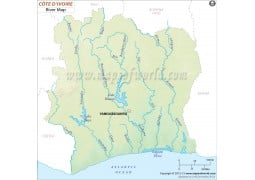 Cote d'Ivoire (Ivory Coast) River Map - Digital File