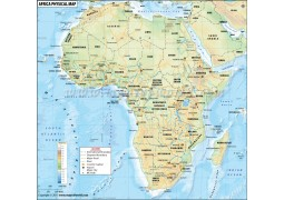 Africa Physical Map with Countries - Digital File